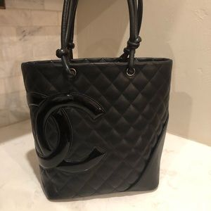 CHANEL Black Quilted Cambon Tote Like New